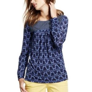 Boden Claire Blue Floral Long Sleeve Top